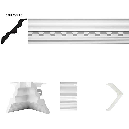- Focal Point 4 ⅛-Inch Concord Dentil Crown Molding 13 Foot x 13 Foot Complete Room Kit with 8 Crown Molding Pieces, Quick Clips, Connectors, Molding Mate Systems, and Mounting Screws