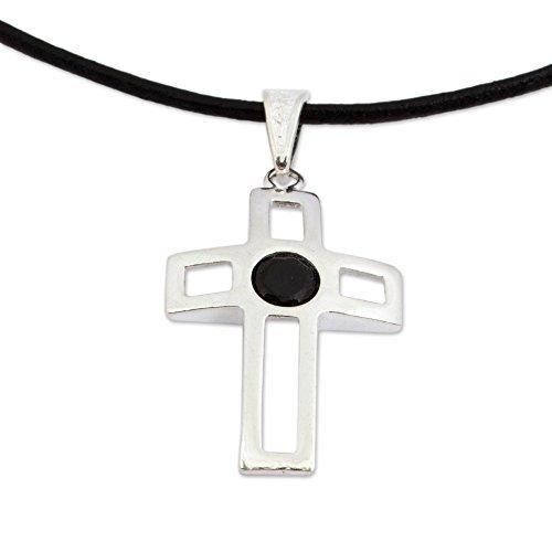 NOVICA Onyx .925 Sterling Silver Leather Pendant Necklace 'Latin Cross'