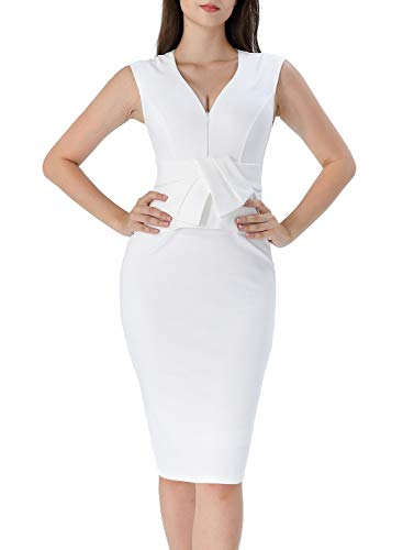 (VFSHOW Womens Off-White V Neck Front Zipper Bowknot Ruffle Peplum Work Office Business Party Bodycon Sheath Dress 2815 WHT S)