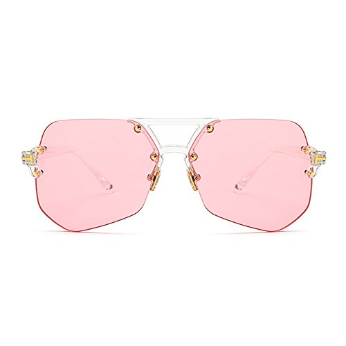 Gafas clear Amarillo De Reborde Sin Marco Irregular Sol Gafas Transparente TIANLIANG04 pink Hombre Transparente De Para Sol Rosa Cnx8qa6q0w