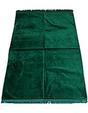 سجادة صلاة خضراء ناعمة من القطيفة مع دعم مانع للانزلاق