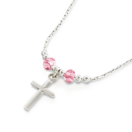 Choice of Cross Pendant Made with Light Rose Swarovski Crystals 925 Silver Necklace, 16