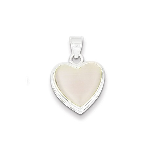 Mia Diamonds 925 Sterling Silver Reversible Heart Mother of Pearl Pendant