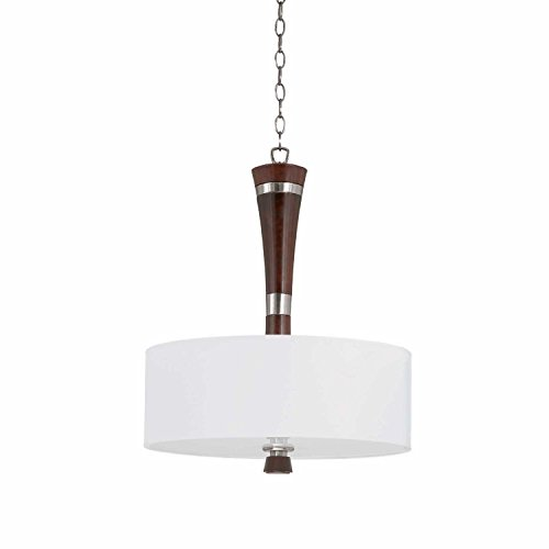 Bordeaux Three Light Pendant - Bordeaux Collection 3 light pendant in a satin nickel and redwood finish