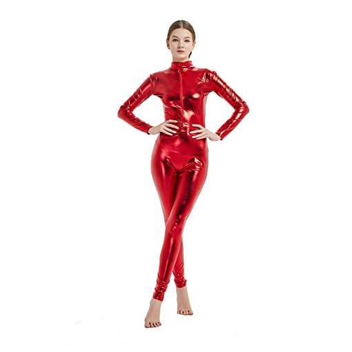 Full Bodysuit Womens Shiny Metallic Without Hood Gloves Socks Chest Zipper Lycra Adult Costume Zentai