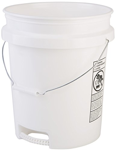 Hudson Exchange 5 Gallon Bucket with Bottom Grip Handle, HDPE, White by Hudson Exchange