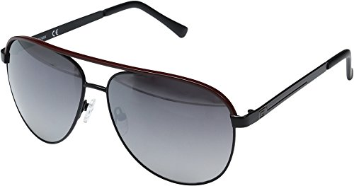 GUESS Unisex GF0172 Black/Red Line/Smoke Mirror Lens One Size