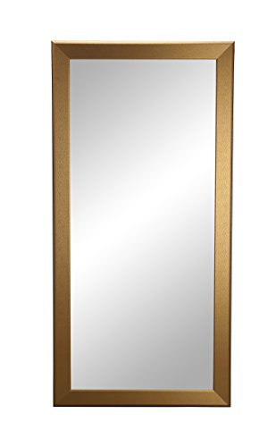BrandtWorks, LLC Gold Grain Floor Mirror, 33 X 72, - Handcrafted to exhibit an impressive level of quality design and flawless reflection 4 pre-installed hooks for easy vertical or horizontal mounting Premium non beveled glass - mirrors-bedroom-decor, bedroom-decor, bedroom - 31XKRVv3w4L -