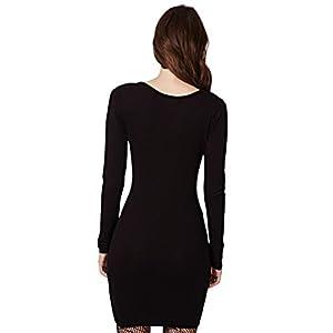 RieKet Women's Halloween Costume Skeleton Dress Long Sleeves Stretchy Short Mini Dress