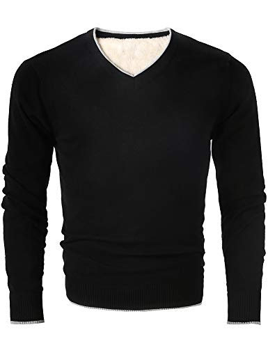 MOCOTONO Men's V Neck Pullover Fleece Lined Cotton Sweater Black - V-neck Cotton Pullover