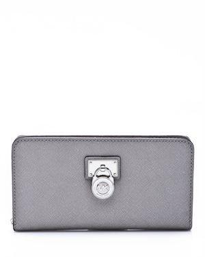 Michael Kors Hamilton Large Leather Zip Around Wallet Dark Slate Slate Grey