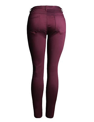 Jeans Pantalon Unie Couleur Slim Wine color Block High Femme Taille Yfltz wUdqXw