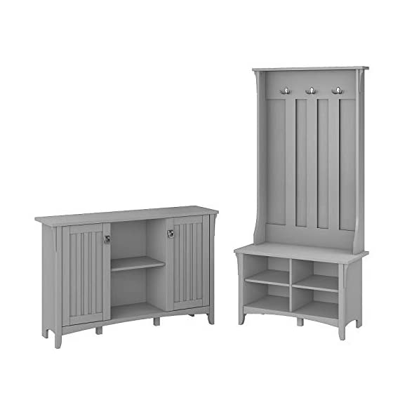 UNIVERSAL LTD Hall Tree with Storage Bench Shoe and Coat Rack in Cape Cod Gray Entryway Storage Organizer Easy Assembly (Cape Cod Gray) - ✅ FIRST IMPRESSIONS MATTER: Bring your guests to your home with a cheerful Welcome! Take off their coat and hang it on your new coat rack in the hallway; the exciting mix of classic and ancient design styles will certainly appeals your visitors. ✅ EVERYTHING UNDER ONE ROOF: This coat rack integrates a clothes rack, shoe rack and storage rack all in one unit; coat, boots, bag and keys are always at hand with easy access. Finished in Antique White with a slightly distressed touch, the country feel of the Hall Tree with Storage Bench looks great even beyond your entryway. A pair of adjustable shelves hold various items in any space, including a bedroom, dorm or hallway. ✅ BUILT TO LAST: The combination of a sturdy frame, sustainable and durable engineered wood constructions ensures a high stability of the coat rack even when loaded with heavy winter jackets; anti-tip kit for extra support. Tapered legs, a curved base and decorative wood detailing complement the casual homes of today. - hall-trees, entryway-furniture-decor, entryway-laundry-room - 31XKTVoGq7L. SS570  -