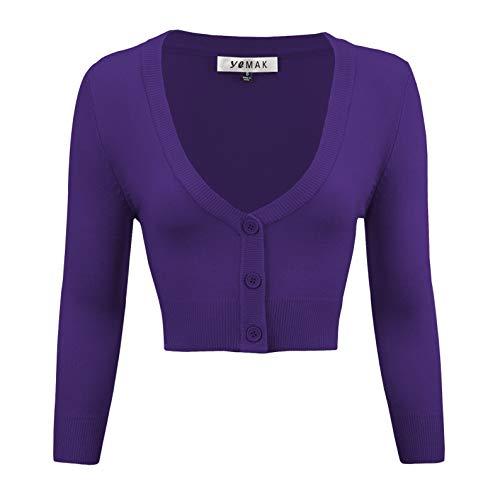 YEMAK Women's Cropped 3/4 Sleeve Bolero Button Down Cardigan Sweater CO129-GRP-M Grape
