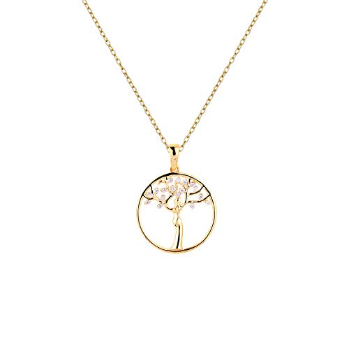 Aurex Natural and Certified Diamond Tree of Life Pendant in 14K Solid Yellow Gold| 0.08 Carat H-I color SI Clarity Diamond Pendant with Chain for Ladies/Women/Girls