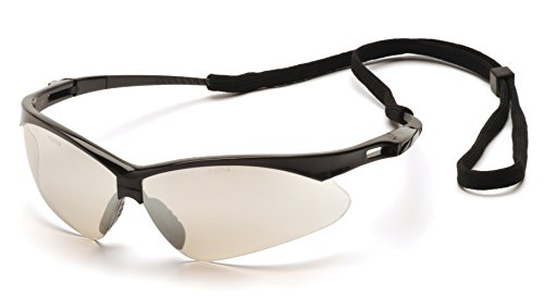 Pyramex Safety PMXTREME Eyewear, Black Frame with Cord, Indoor/Outdoor Mirror Lens Tuff Line Cord
