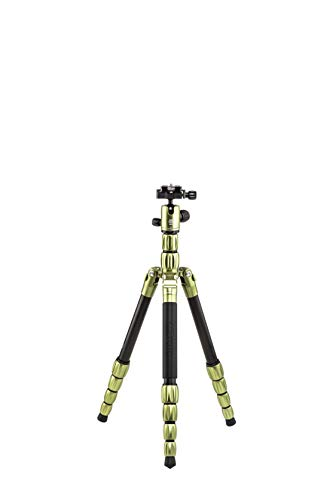 MeFOTO Backpacker S Lightweight 54.7″ Aluminum Travel Tripod/Monopod w/Case, Twist Locks, Dual Action Ballhead w/Arca Swiss Plate for Mirrorless/DSLR Sony Nikon Canon Fuji – Aluminum Green (BPSAGRN)