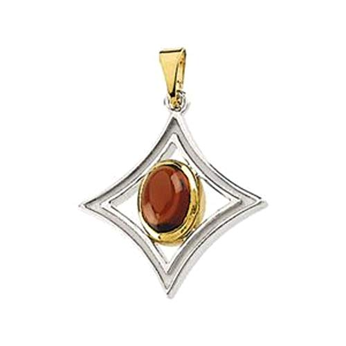 (Bonyak Jewelry Sterling Silver & 14k Yellow Gold Mozambique Garnet Pendant)