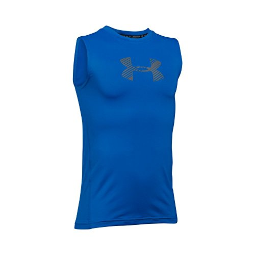 Under Armour Boys' HeatGear Armour Sleeveless Fitted Shirt, Ultra Blue/Graphite, Youth Small