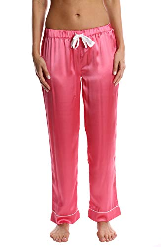 (Blis Women's Satin Pajama Pants - Ladies Comfy Lounge & Sleepwear PJ Bottoms - Blush Flower, X-Large)