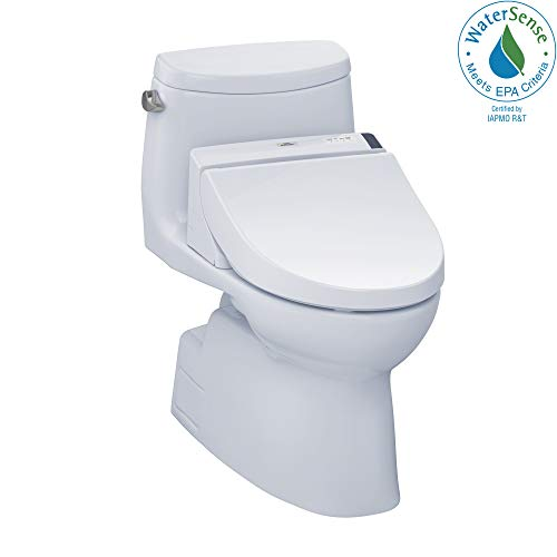 TOTO MW6142044CEFG#01 WASHLET+ Kit, Carlyle II One-Piece Elongated 1.28 GPF Toilet and WASHLET C200 Bidet Seat, Cotton White