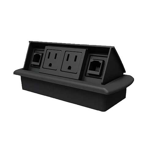 "Byrne, Table or Desk Mini-Port Power and Data Center, Color: Matte Black, Material: Molded Plastic, Dimensions: Above Desk; 3""Wx x7""L - Below Desk; 2.5""W x 6""L, Qty: 1"