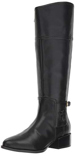 Tommy Hilfiger Women's MANI Equestrian Boot, Black, 7.5 M US