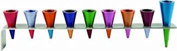 Yair Emanuel   Hanukkah Hanukah Menorah -  Metal Strips with Multicolor Cones Candles Holder 9 Branch - Hanukkiyah Judaica   MultiColor   HMK-2 ()