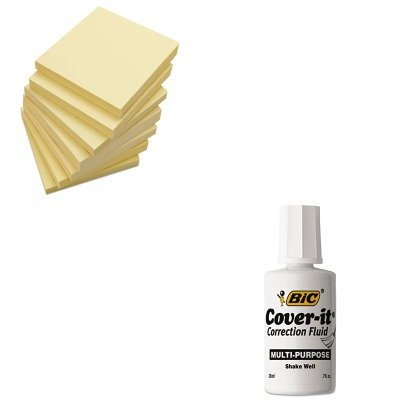 KITBICWOC12DZUNV35668 - Value Kit - BIC Cover-It Correction Fluid (BICWOC12DZ) and Universal Standard Self-Stick Notes (UNV35668) (Sticky Notes Bic)