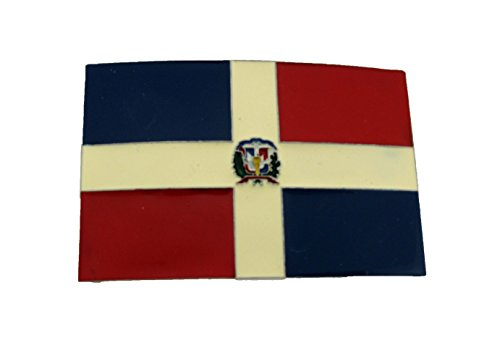 Dominican Republic Belt Buckle Flag Gold Silver Metal Mens Rodeo Western ()