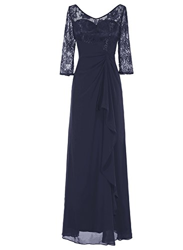 Bbonlinedress Long Chiffon Lace Ruched Cocktail Wedding Dress Mother of Bride Dresses Dark Navy 16
