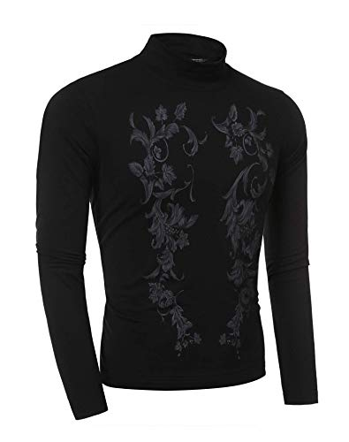Coofandy Men's Fashion Long Sleeve Floral Print T-shirt  Blue  XX-Large
