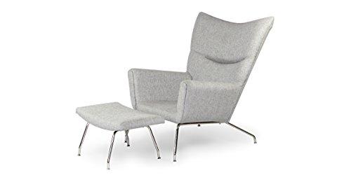 Kardiel Hans J Wegner Style Wing Chair & Ottoman, Dacite Retrospeck Twill (Wing Chair Wegner Style)