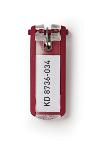DURABLE Key Tags, Plastic, Red, 6-Pack (195703)