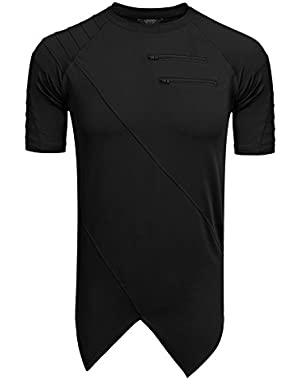 Mens Fashion Short Sleeve Irregular Hem T-Shirt