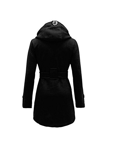 Envy Boutique Women's Military Button Hooded Fleece Belted Jacket Black 6 ()