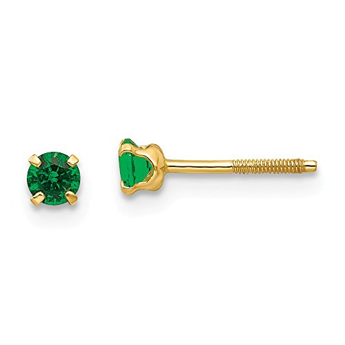 14k Yellow Gold Polished Simulated Screw back Post Earrings 3mm Synthetic Emerald Childrens Earrings - Measures - Emerald Earring Synthetic
