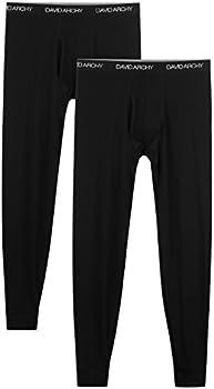 David Archy Men's 2-Pk Baselayer Thermal Pants (Black)