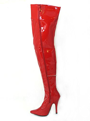 Womens Ladies Sexy Thigh High Kinky Fetish Over The Knee Stiletto Heel Full Side Zip Boots Size UK 4-12 Red Patent 9a2zvl7Re