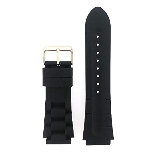Watch Band Silicone RubberLink Heavy Black Strap Waterproof Stainless Buckle 20 millimeters (Freestyle Watch Band Replacement)