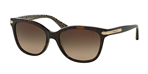 Coach Women's HC8132 Sunglasses Dk Tort/Dk Tort Military Sig C/Dark Brown Gradient 57mm
