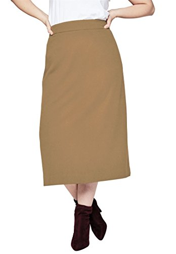 Jessica London Women's Plus Size Wool Midi Skirt Soft Camel,14 (Skirt Wool Soft)
