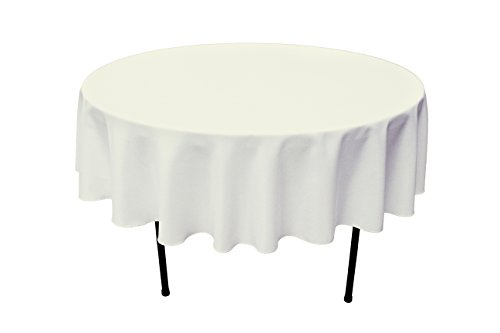 GEFEII Kitchen Tablecloth 70 inch Round Tablecloths Solid Polyester Table Cloth for Wedding Party Restaurant Banquet Dining Buffet Table Picnic Decorations (Round-70 inch, Ivory) (Birthday Party Tablecloth Round)