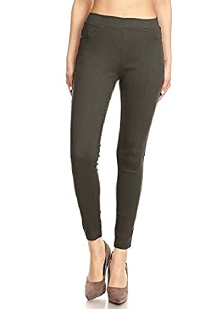 JVINI Women's Pull-On Ripped Distressed Stretch Legging Pants Denim Jean (Small, Army Green-No Rip)