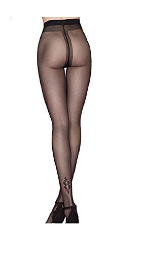 Fiore Women's Hush-Hush Glitter Heel Motif Pantyhose large (5'7