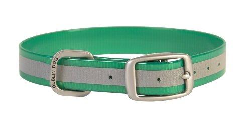 Dublin Dog 17-Inch to 21.5-Inch KOA Reflective Waterproof Dog Collar, Large, Kelly Green