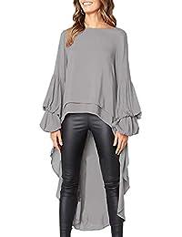 1737b8c159c094 Women s Double Layered High Low Asymmetrical Tunic Top Blouse