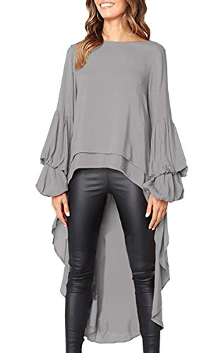 e465d8ef473ab8 Hibluco Women s Double Layered High Low Asymmetrical Tunic Top Blouse. Tap  to expand