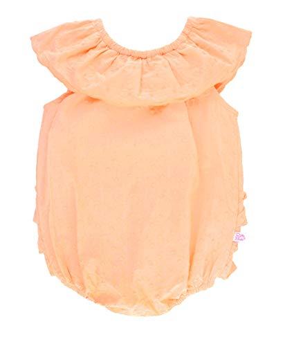 RuffleButts Baby/Toddler Girls Salmon Swiss Dot Ruffle Neck Romper - -