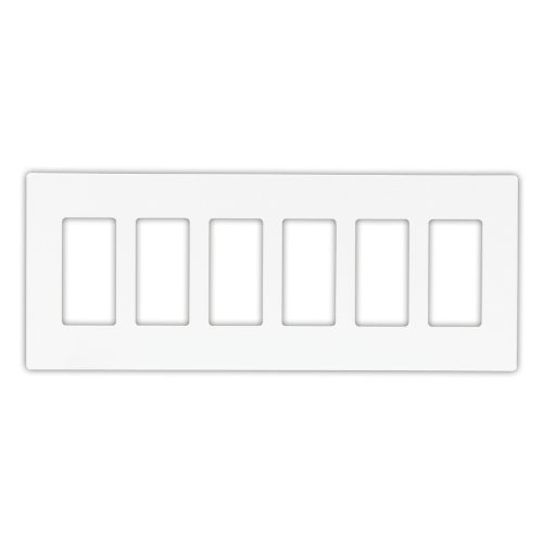 Eaton PJS266W Decorator Screwless Wallplate, 6-Gang, White ()